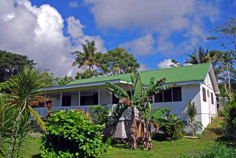 West view with Banana and Tahitian Apple tree